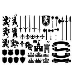 Heraldry silhouette mega set vector