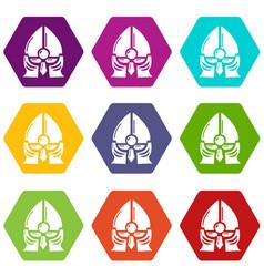 historical knight helmet icons set 9 vector image