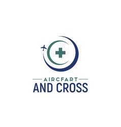 hospital pharmacy cross plane aircraft travel logo vector image