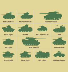 Icons of us tanks vector