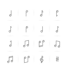 Icons set of music notes in thin line style vector