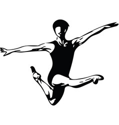 Jumping man abstract lines drawing vector