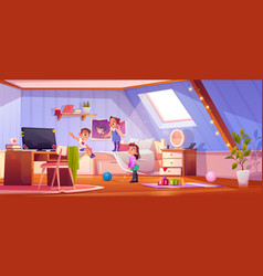 Kids playing in attic room children at home vector