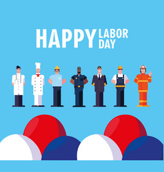 Labor day label with men professionals vector