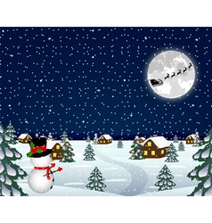 landscape in christmas night vector image