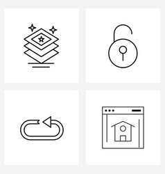 Line icon set 4 modern symbols document vector