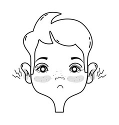 Line man with otitis earache illness infection vector