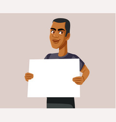 Male promoter holding blank ad board vector