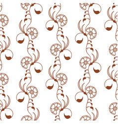Mehndi floral seamless pattern with brown henna vector