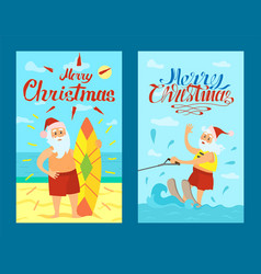 Merry christmas santa claus surfing board xmas vector