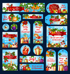 merry christmas wish greeting banners tags vector image