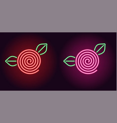 neon rose flower in red and pink color vector image