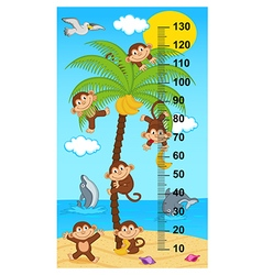 palm tree height measure with monkeys vector image