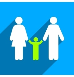 Parents and Child Flat Square Icon with Long vector