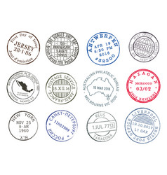 postage service mail post delivery ink stamps vector image