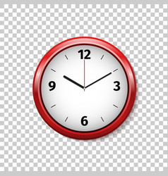 realistic classic red and white round wall clock vector image