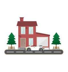 residential brick house with garage and car vector image