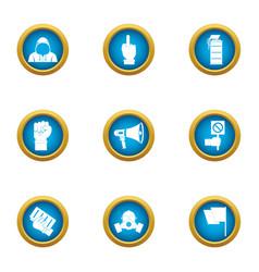 Revolt icons set flat style vector