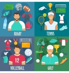 Rugby tennis volleyball golf sport icons vector