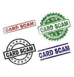 scratched textured card scam stamp seals vector image
