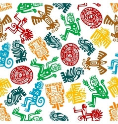 seamless mayan and aztec pattern animal totems vector image