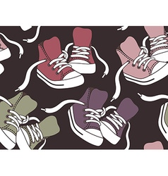 Seamless pattern with sneakers vector