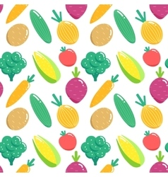 Seamless pattern with vegetables Flat veggies vector