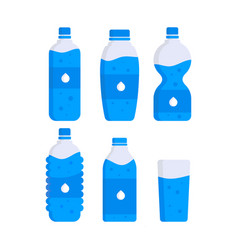 set of water plastic bottles clean drink vector image