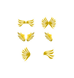 set of wing logo template icon design vector image