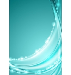 Shiny turquoise abstract waves background vector