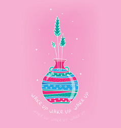 spring card with glass bottle and spikelets hand vector image