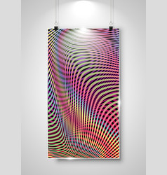 Striped banner display with clip hanging on wall vector