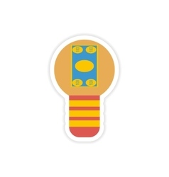 Stylish sticker on paper bill in light bulb vector