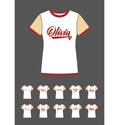 T-Shirt design with the personal name Olivia vector