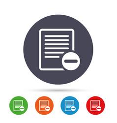 Text file sign icon delete file document symbol vector