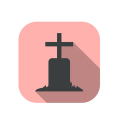 tomb icon with long shadow gravestone flat style vector image