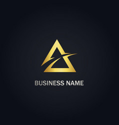 triangle abstract company gold logo vector image