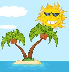 Tropical sun cartoon vector image