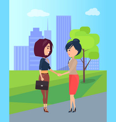 two cute girls isolated on pretty city landscape vector image