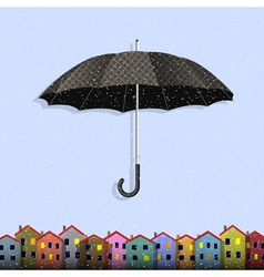 Umbrella in blizzard with colorful paper homes vector