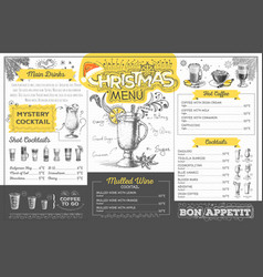 vintage christmas menu design restaurant menu vector image