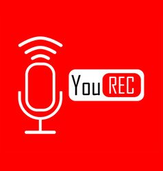 white microphone in linear design with you rec vector image