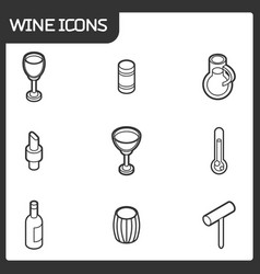 wine outline isometric icons vector image