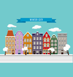 winter flat city landscape with european building vector image