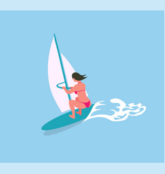 woman swimming on surfboard with canvas blue sea vector image