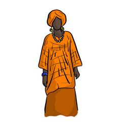 Woman with orange african local costume vector