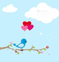 Blue bird with balloons vector image
