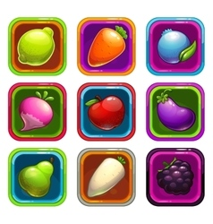 Cartoon app icons with fruits and vegetables vector image vector image