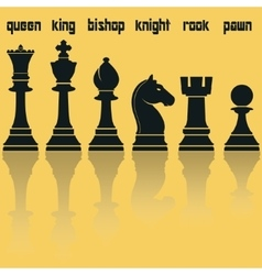 Chess Pieces Silhouettes with Reflection vector image vector image