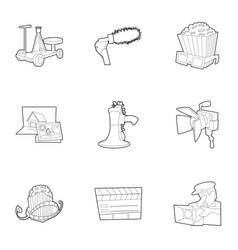 film creation icons set outline style vector image vector image